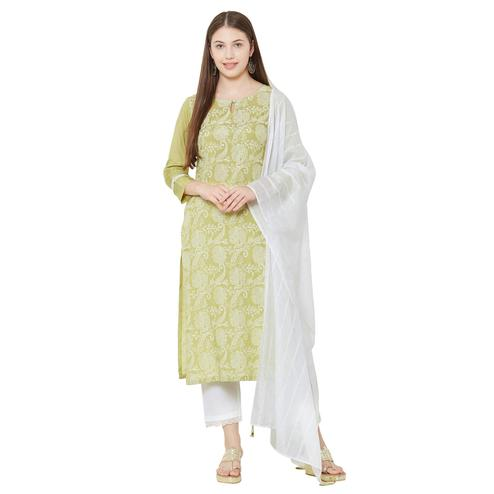 Sophisticated Green Colored Casual Wear Printed Viscose Kurti