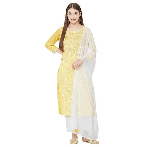 Trendy Yellow Colored Casual Wear Printed Viscose Kurti