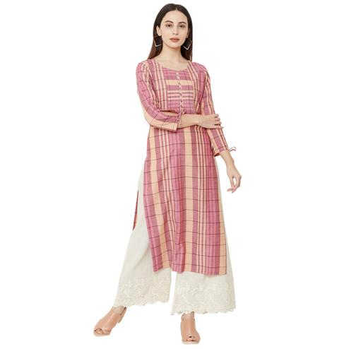 Pleasant Pink Colored Casual Wear Checkered Cotton Kurti