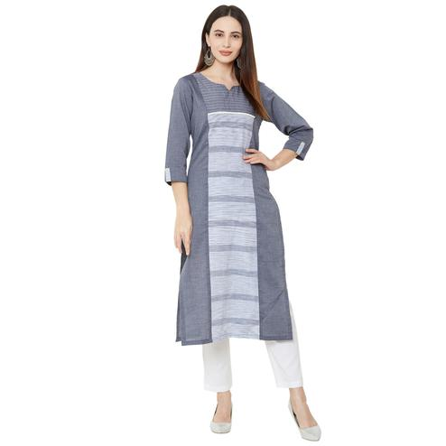 Opulent Grey Colored Casual Wear Embellished Cotton Kurti