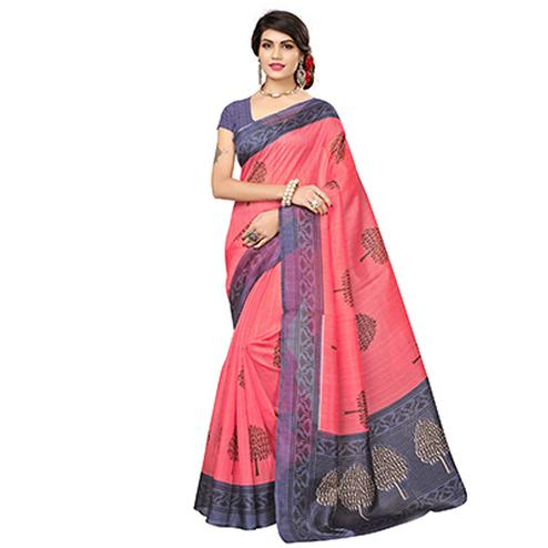 Dark Peach Festive Wear Printed Bhagalpuri Silk Saree