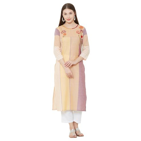 Exceptional Yellow Colored Casual Wear Stripes Cotton Kurti