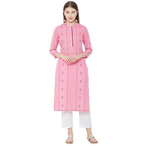 Mesmeric Pink Colored Casual Wear Checkered Cotton Kurti