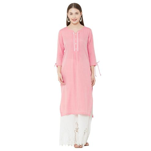 Unique Pink Colored Casual Wear Embellished Cotton Kurti