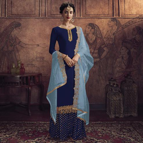 Prominent Blue Colored Partywear Embroidered Heavy Vichitra Georgette Palazzo Suit