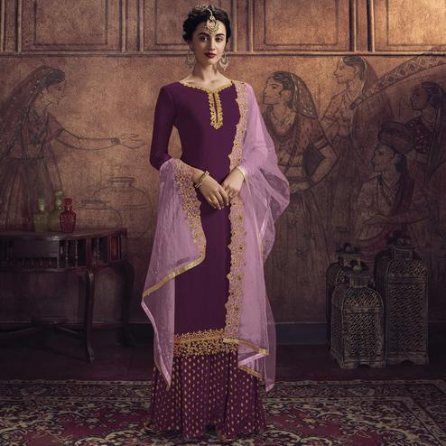 Appealing Purple Colored Partywear Embroidered Heavy Vichitra Georgette Palazzo Suit