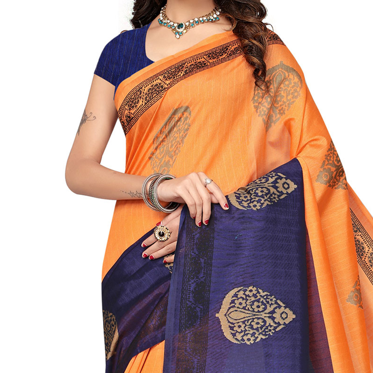 Orange - Blue Festive Wear Printed Bhagalpuri Silk Saree