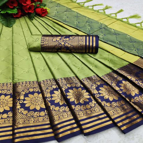Majesty Pista Green Colored Festive Wear Woven Cotton Silk Saree