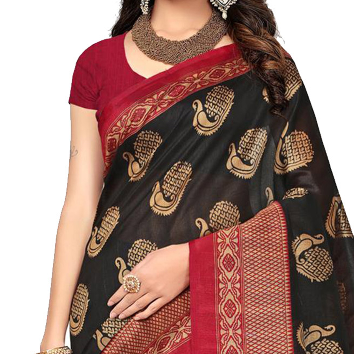 Black - Maroon Festive Wear Printed Bhagalpuri Silk Saree
