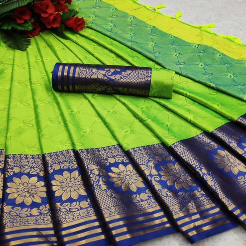 Mesmerising Green Colored Festive Wear Woven Cotton Silk Saree