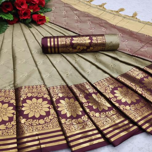 Pleasance Chiku Colored Festive Wear Woven Cotton Silk Saree