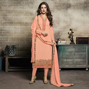 Peach Designer Embroidered Partywear Georgette Salwar Suit