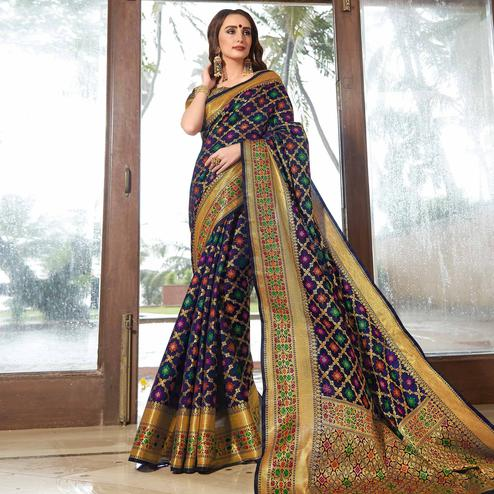 Sophisticated Navy Blue Colored Festive Wear Woven Silk Saree