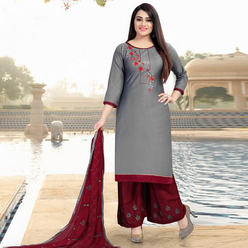 Engrossing Grey Colored Casual Wear Embroidered Jam Cotton Dress Material'