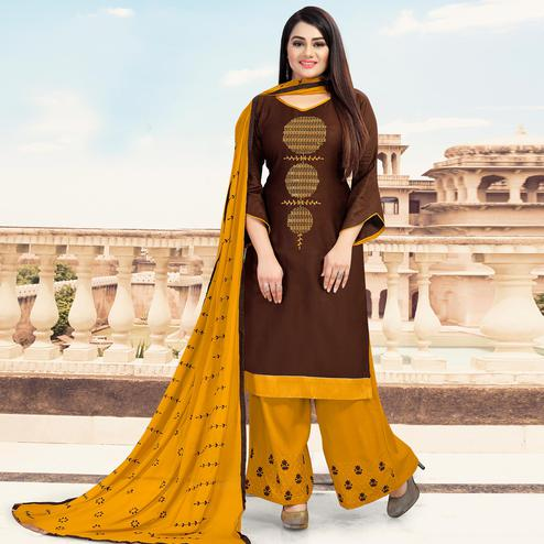 Captivating Brown Colored Casual Wear Embroidered Jam Cotton Dress Material