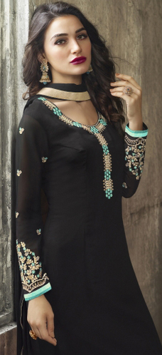 Black Designer Embroidered Partywear Georgette Salwar Suit