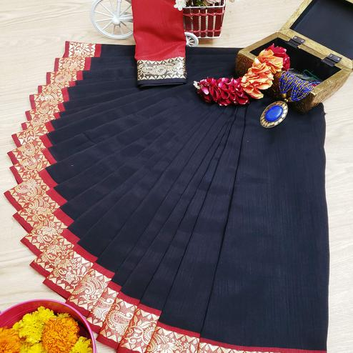 Opulent Black Colored Festive Wear Woven Soft Vichitra Silk Saree