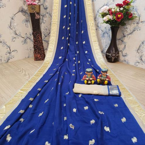 Magnetic Navy Blue Colored Festive Wear Woven Soft Vichitra Silk Saree