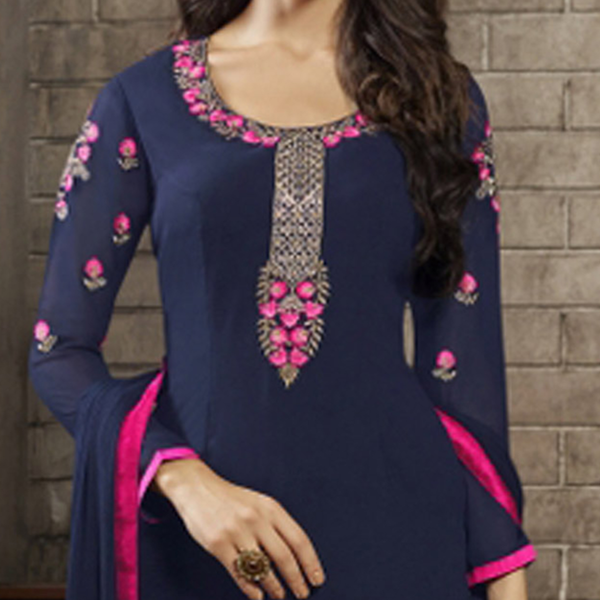 Navy Blue Designer Embroidered Partywear Georgette Salwar Suit