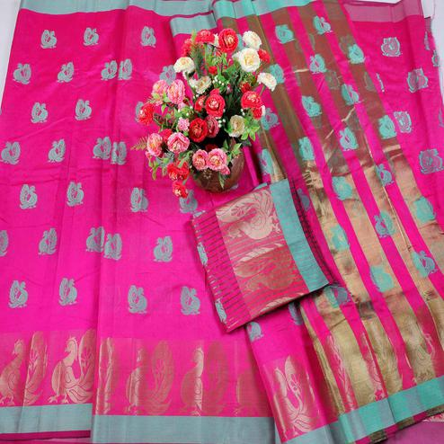 Blissful Pink Colored Festive Wear Woven Cotton Silk Saree