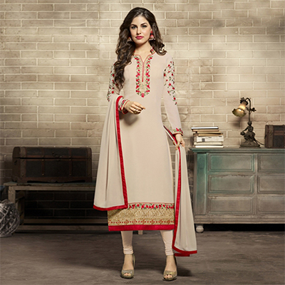 Cream Colored Designer Embroidered Partywear Georgette Salwar Suit