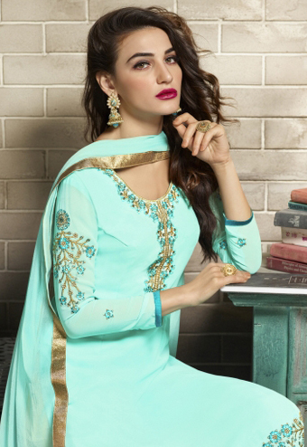 Turquoise Blue Designer Embroidered Partywear Georgette Salwar Suit