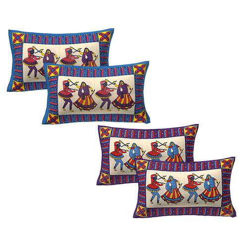 AJ Home - Multi Colored 100% Cotton Printed Pillow Covers 2 Sets (4 Pieces)