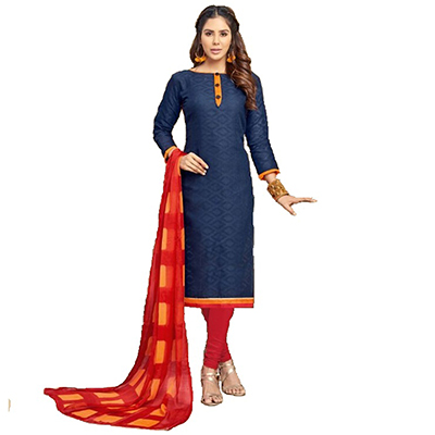Ravishing Navy Blue Embroidered Cotton Jacquard Dress Material