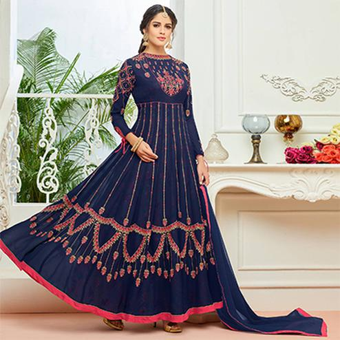 Stunning Royal Blue Designer Embroidered Partywear Faux Georgette Anarkali Suit