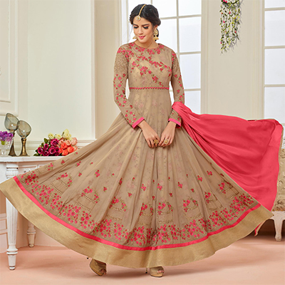 Lovely Beige Designer Embroidered Partywear Faux Georgette Anarkali Suit