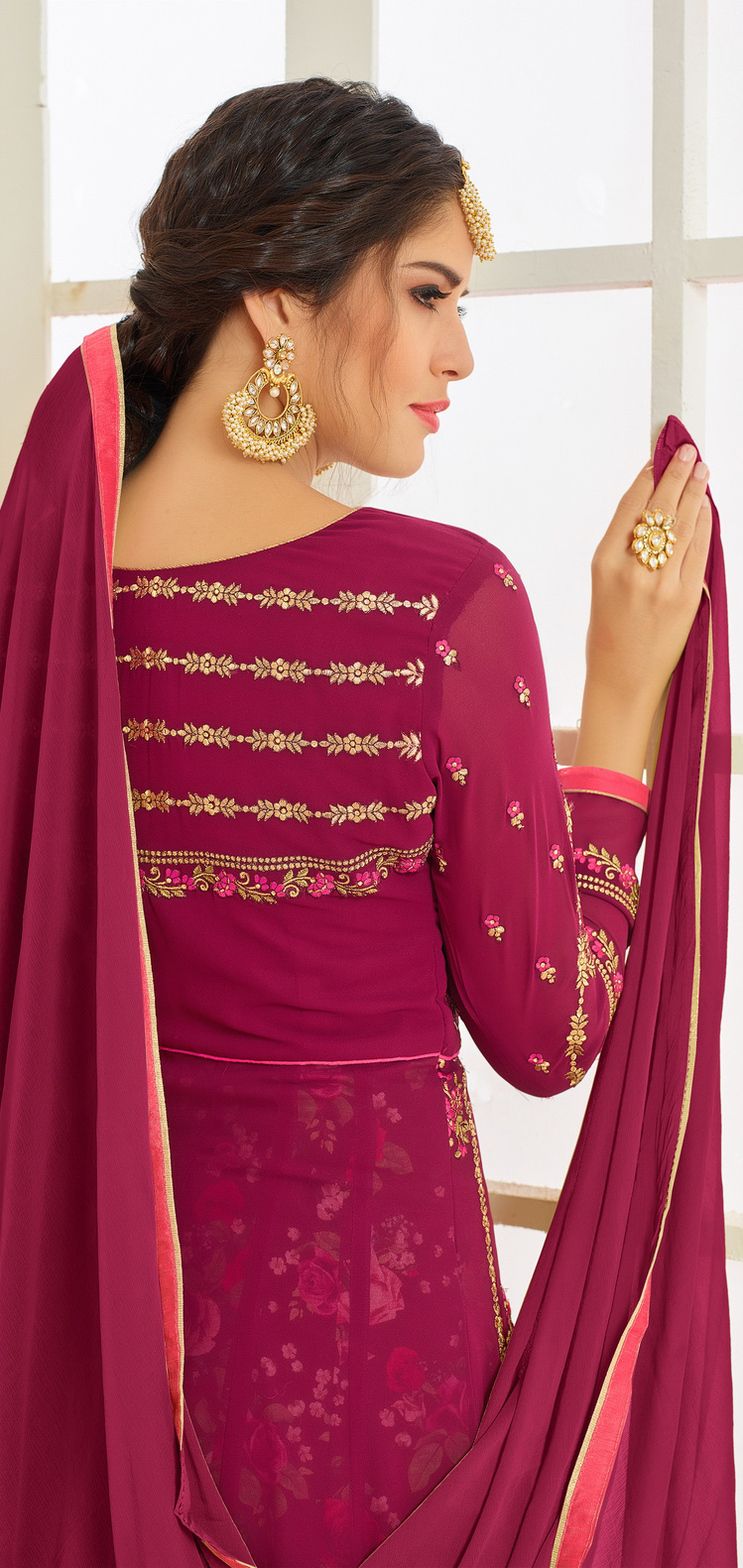 Mesmerising Wine Colored Designer Embroidered Partywear Faux Georgette Anarkali Suit