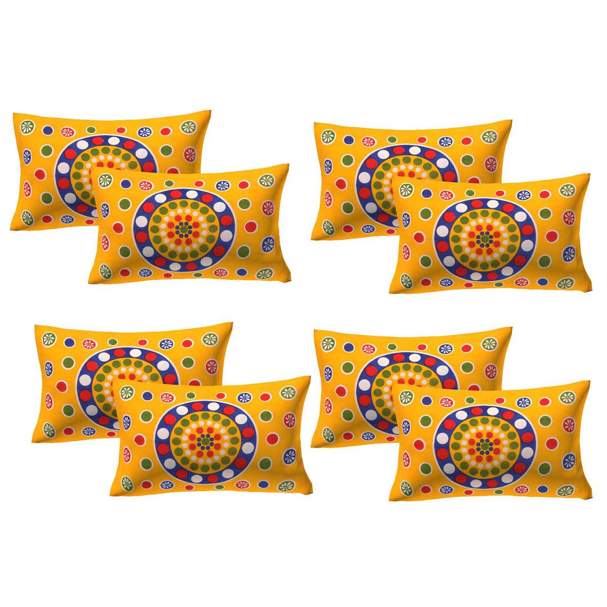 AJ Home - Yellow Colored 100% Cotton Printed Pillow Covers 4 Sets (8 Pieces)
