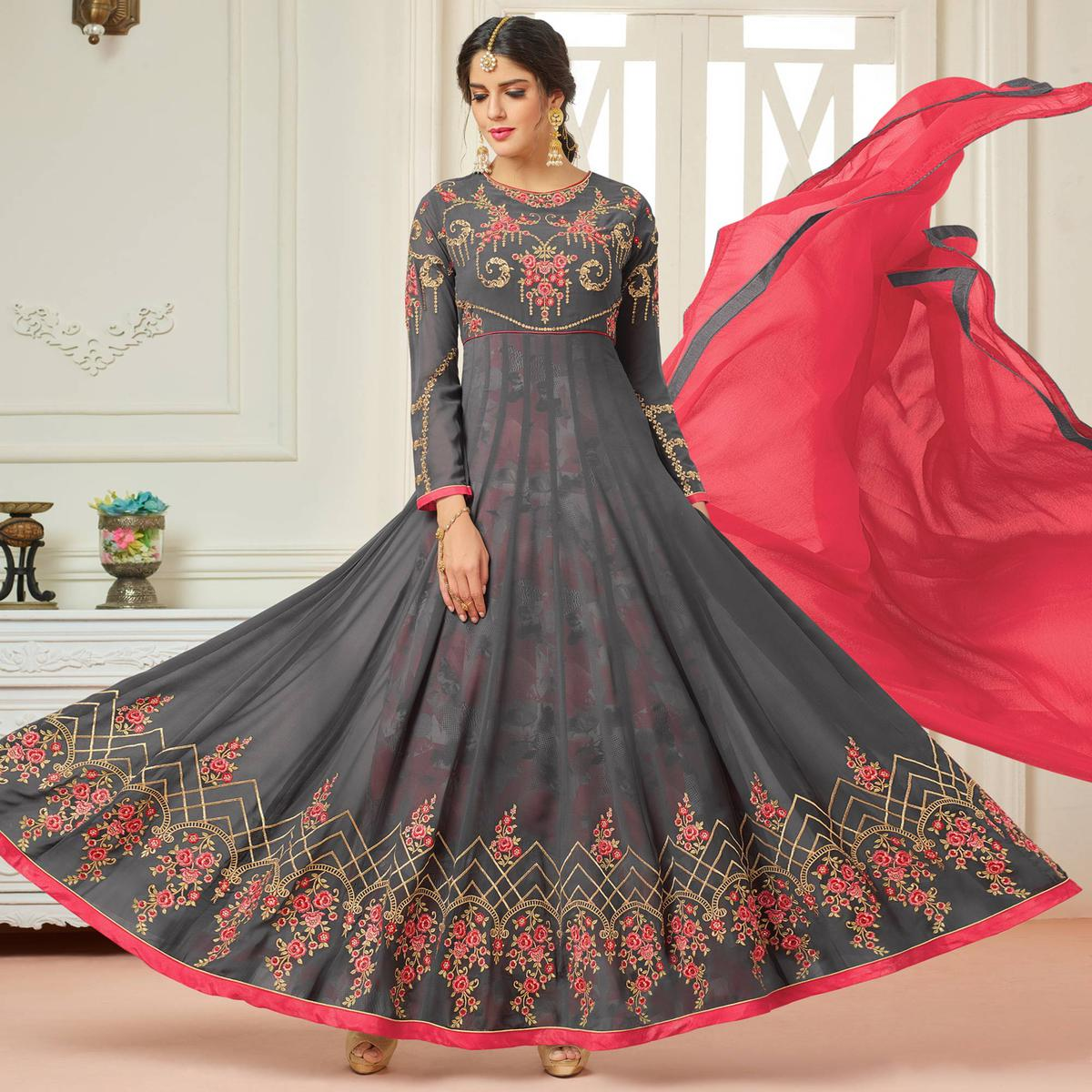 63ad91a93e Buy Beautiful Gray Designer Embroidered Partywear Faux Georgette Anarkali  Suit online India, Best Prices, Reviews - Peachmode
