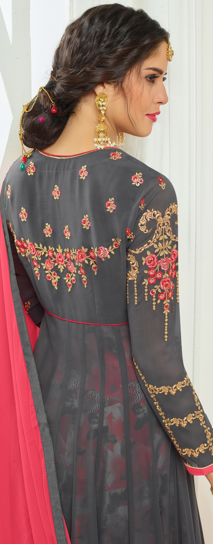 Beautiful Gray Designer Embroidered Partywear Faux Georgette Anarkali Suit