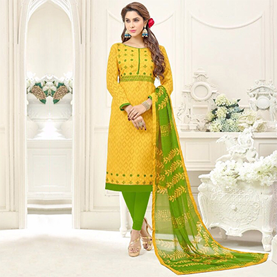 Graceful Yellow Embroidered Cotton Jacquard Dress Material