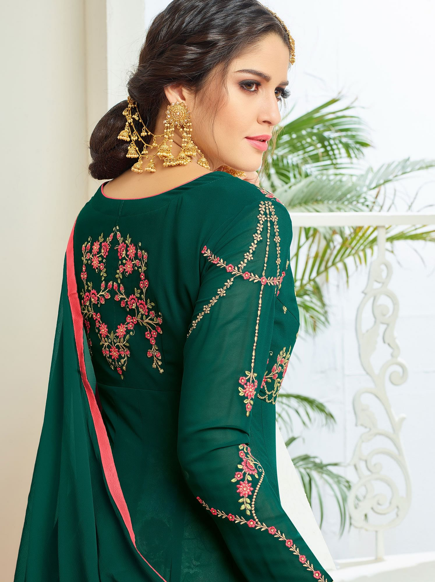 Graceful Green Designer Embroidered Partywear Faux Georgette Anarkali Suit
