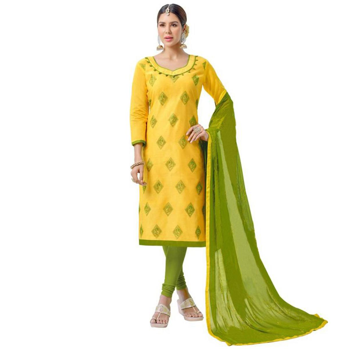 Adorable Yellow Embroidered Chanderi Dress Material