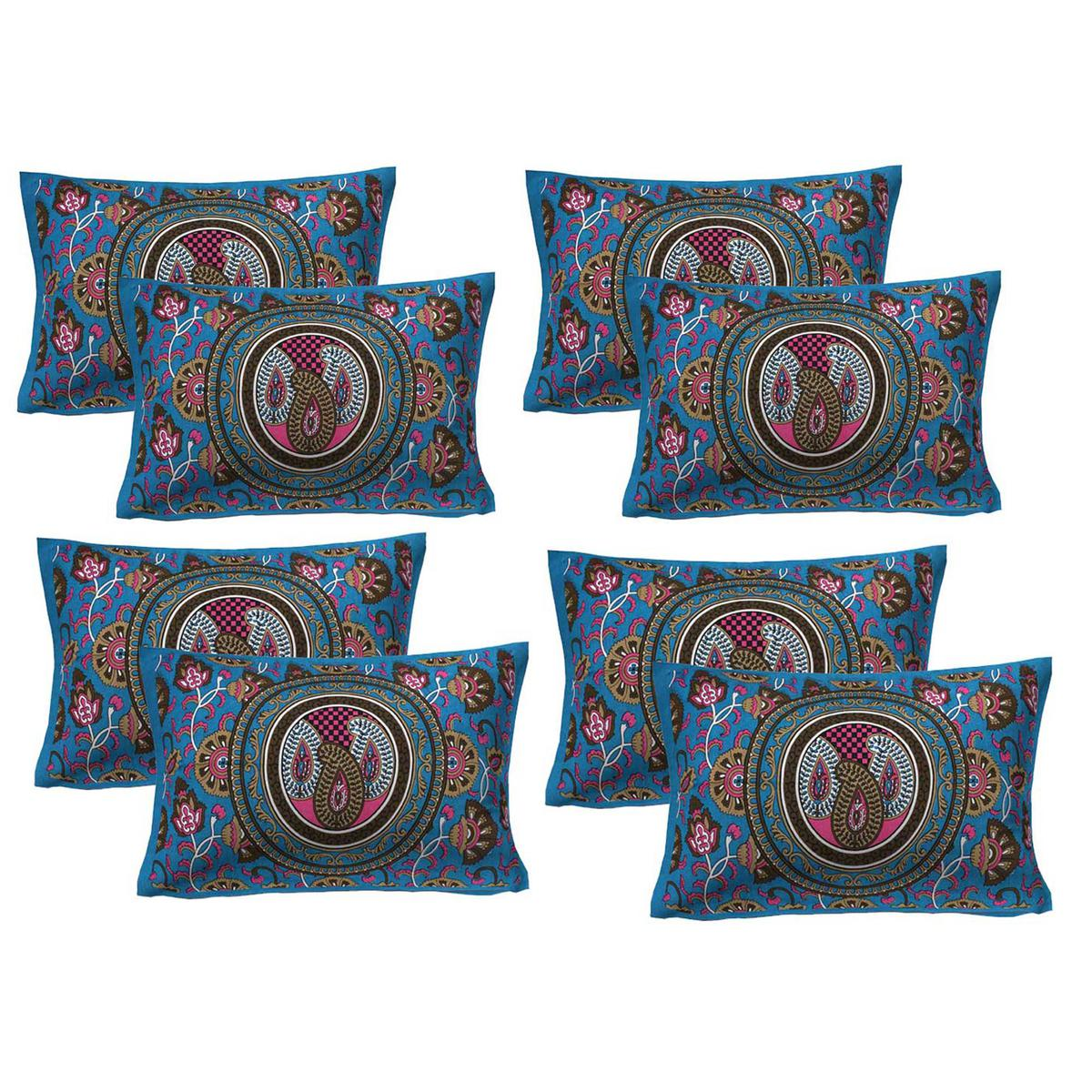 AJ Home - Turquoise Colored 100% Cotton Printed Pillow Covers 4 Sets (8 Pieces)