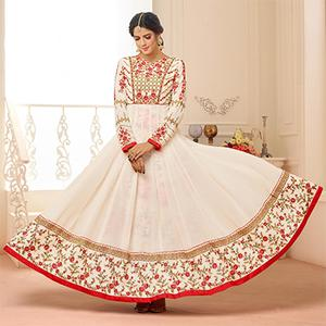 Elegant White Designer Embroidered Partywear Faux Georgette Anarkali Suit