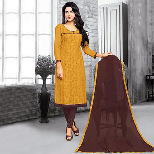 Charming Mustard Yellow Embroidered Cotton Jacquard Dress Material