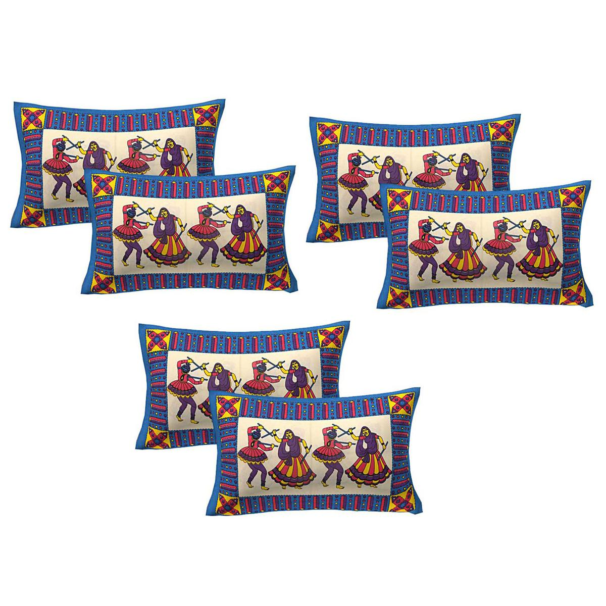 AJ Home - Blue Colored 100% Cotton Printed Pillow Covers 3 Sets (6 Pieces)