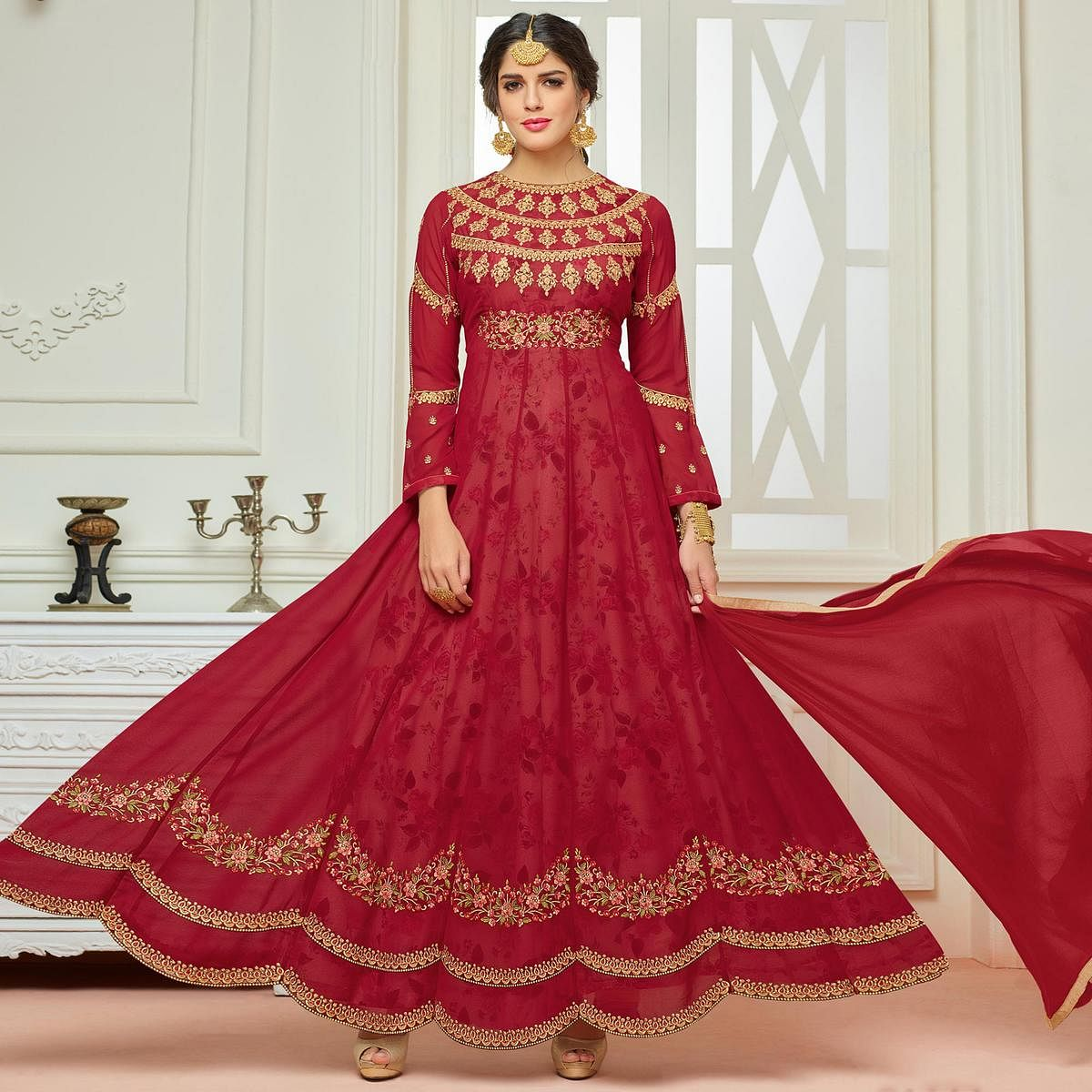 Attractive Maroon Designer Embroidered Partywear Faux Georgette Anarkali Suit