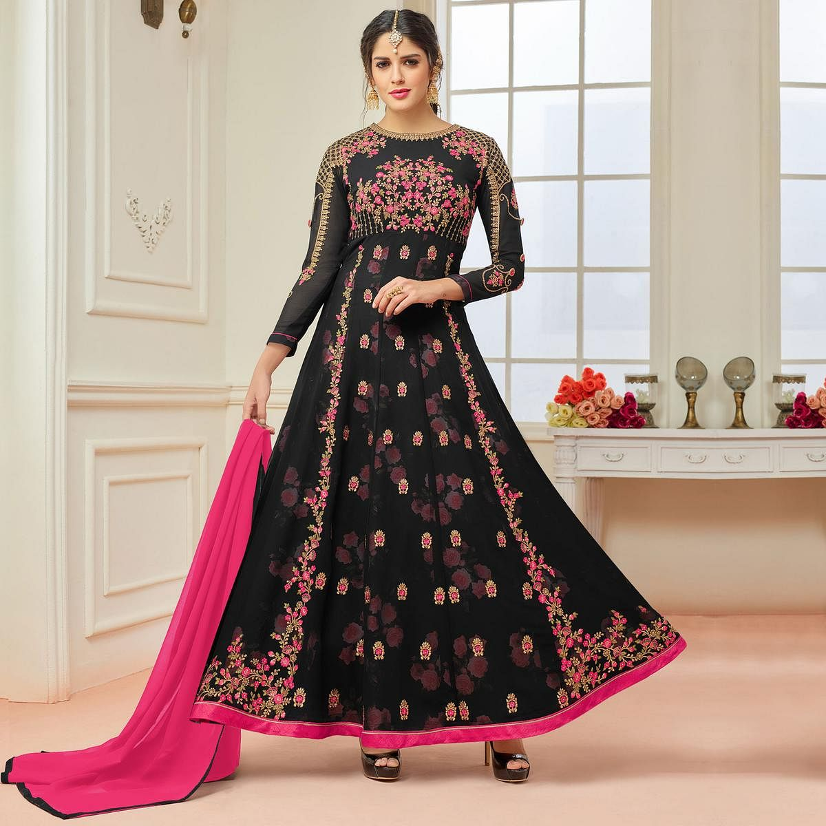 d8e3c6b9ad Buy Gorgeous Black Designer Embroidered Partywear Faux Georgette Anarkali  Suit online India, Best Prices, Reviews - Peachmode