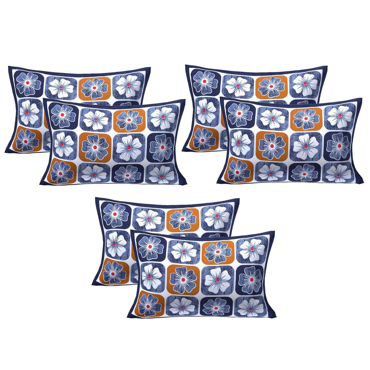 AJ Home - Multi Colored 100% Cotton Printed Pillow Covers 3 Sets (6 Pieces)