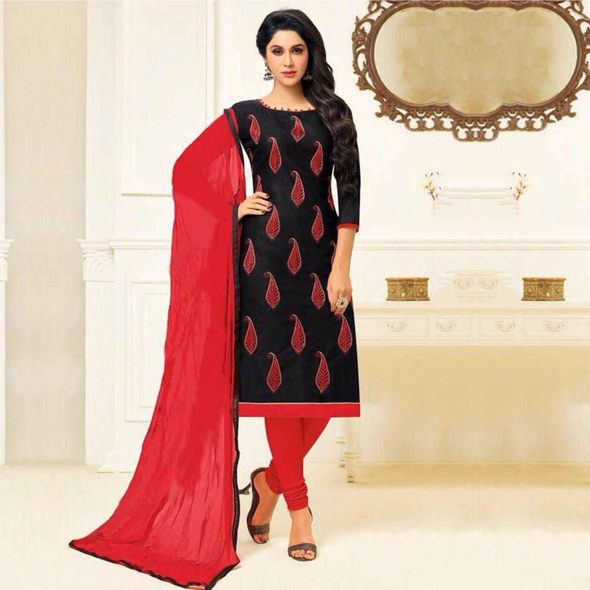 Stunning Black Embroidered Cotton Jacquard Dress Material