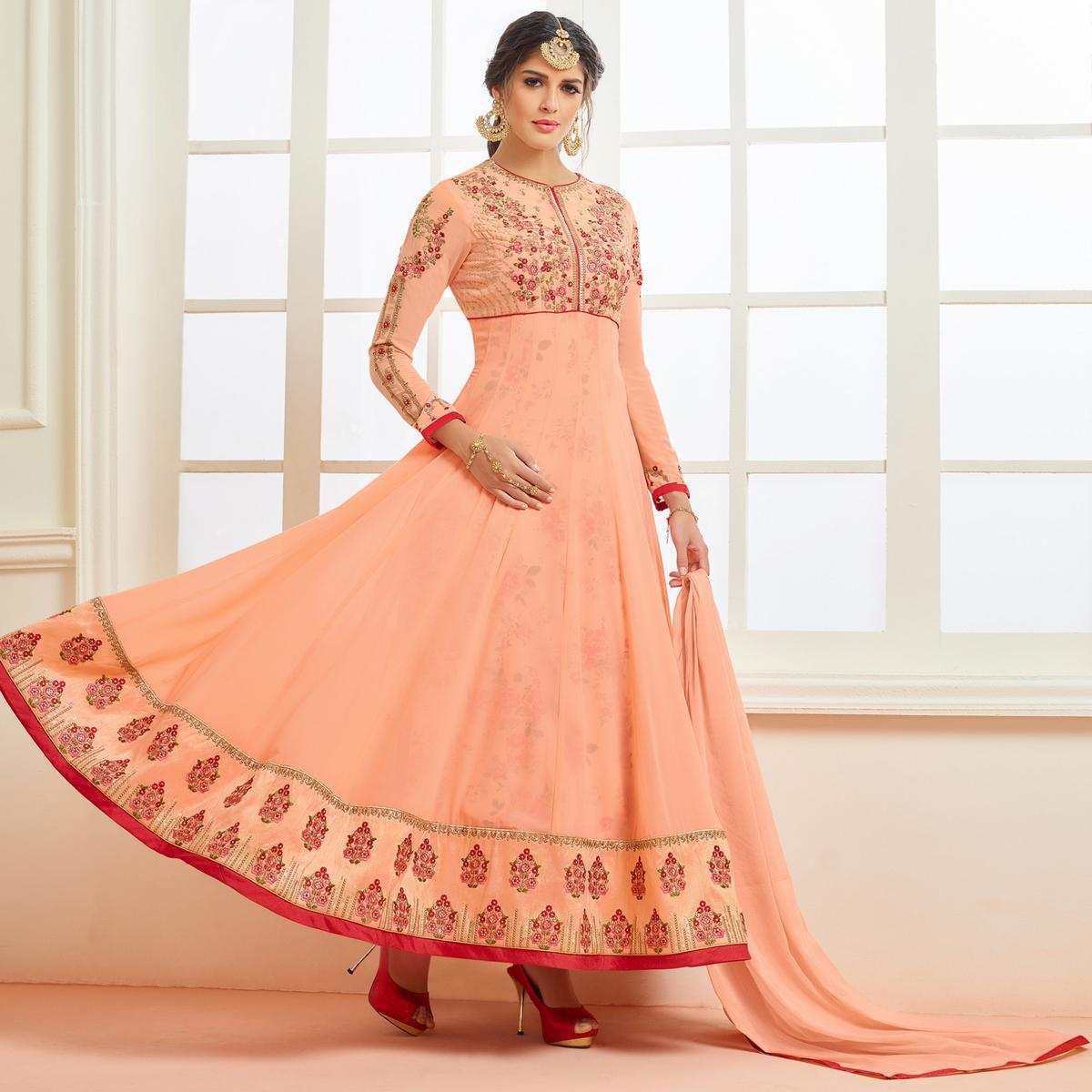48fc729ff4 Buy Graceful Peach Designer Embroidered Partywear Faux Georgette Anarkali  Suit online India, Best Prices, Reviews - Peachmode
