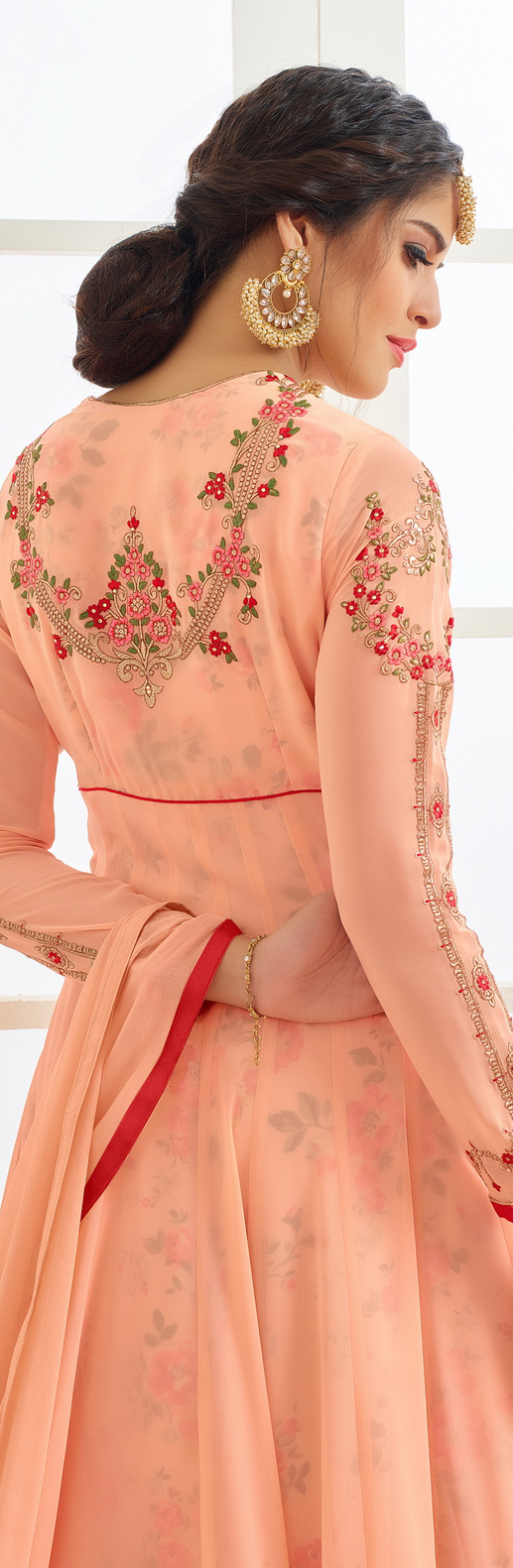 Graceful Peach Designer Embroidered Partywear Faux Georgette Anarkali Suit
