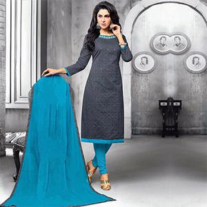 Stylish Gray Embroidered Cotton Jacquard Dress Material