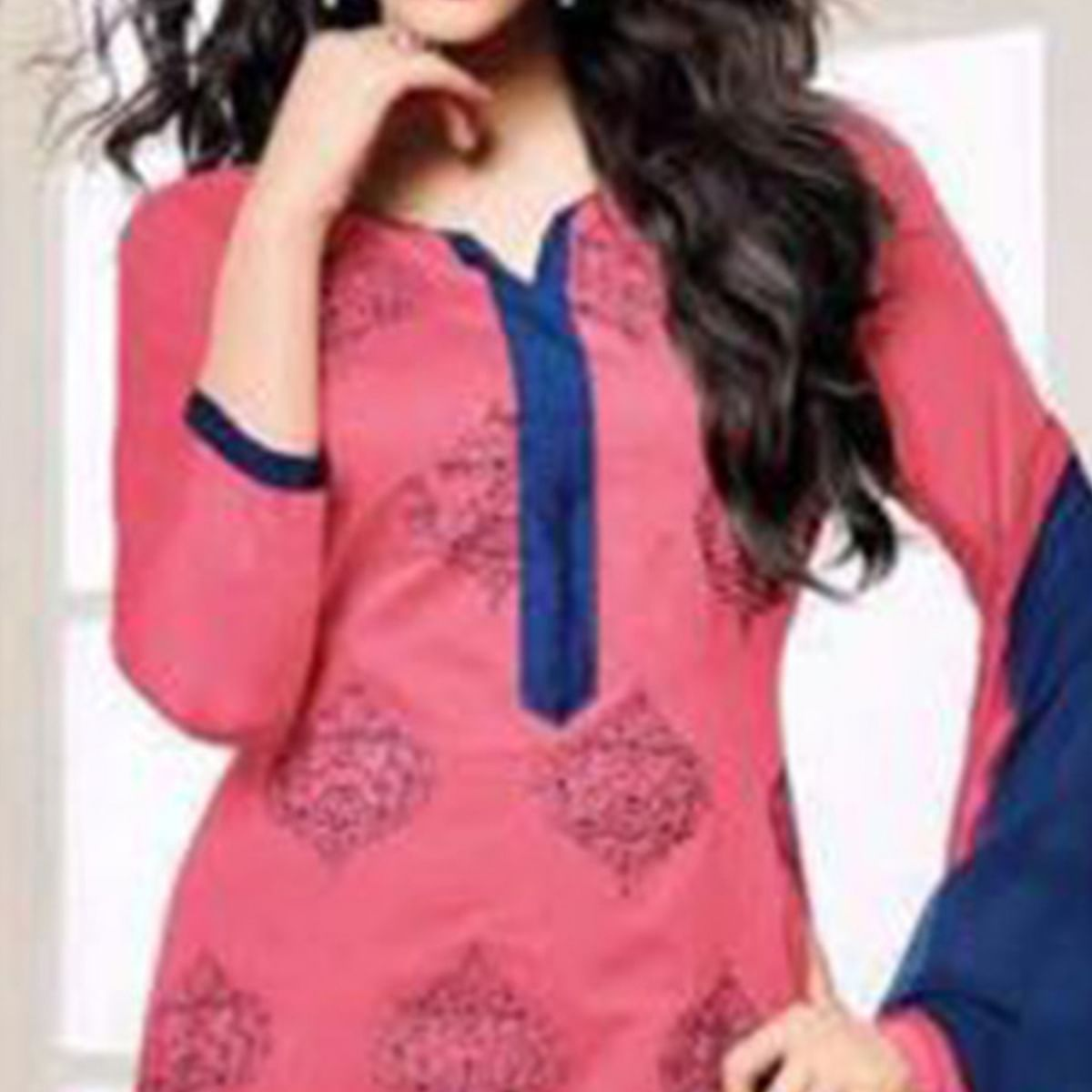 Flamboyant Pink Embroidered Cotton Dress Material