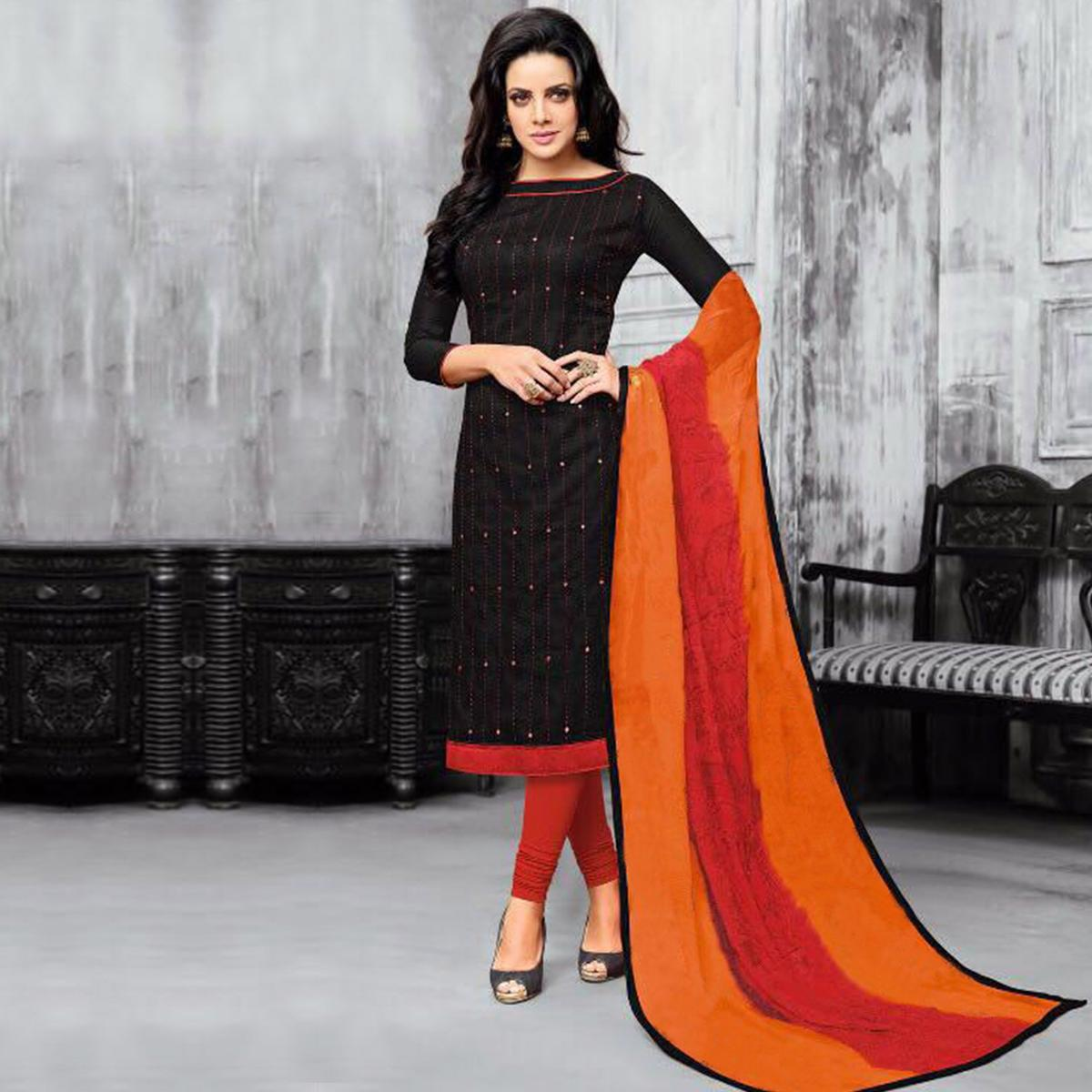 Attractive Black Embroidered Cotton Jacquard Dress Material
